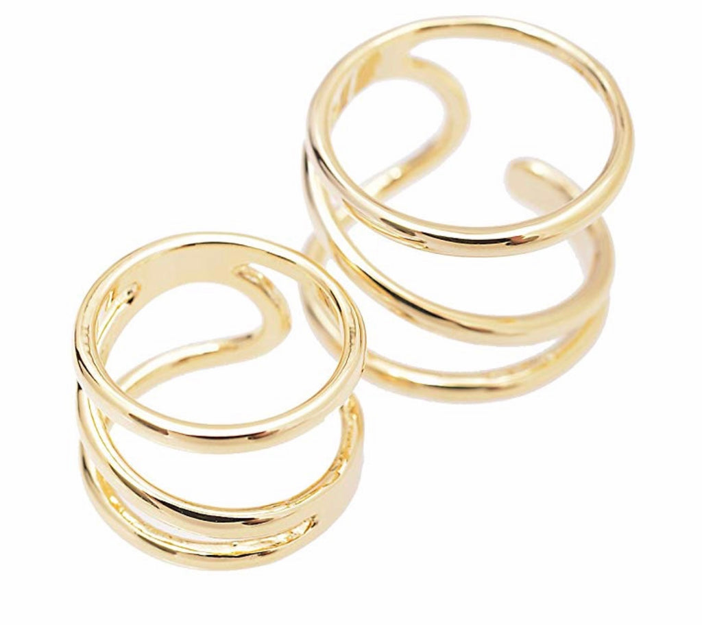 Spiral Wrap Statement Ring and Midi Ring Set of 2