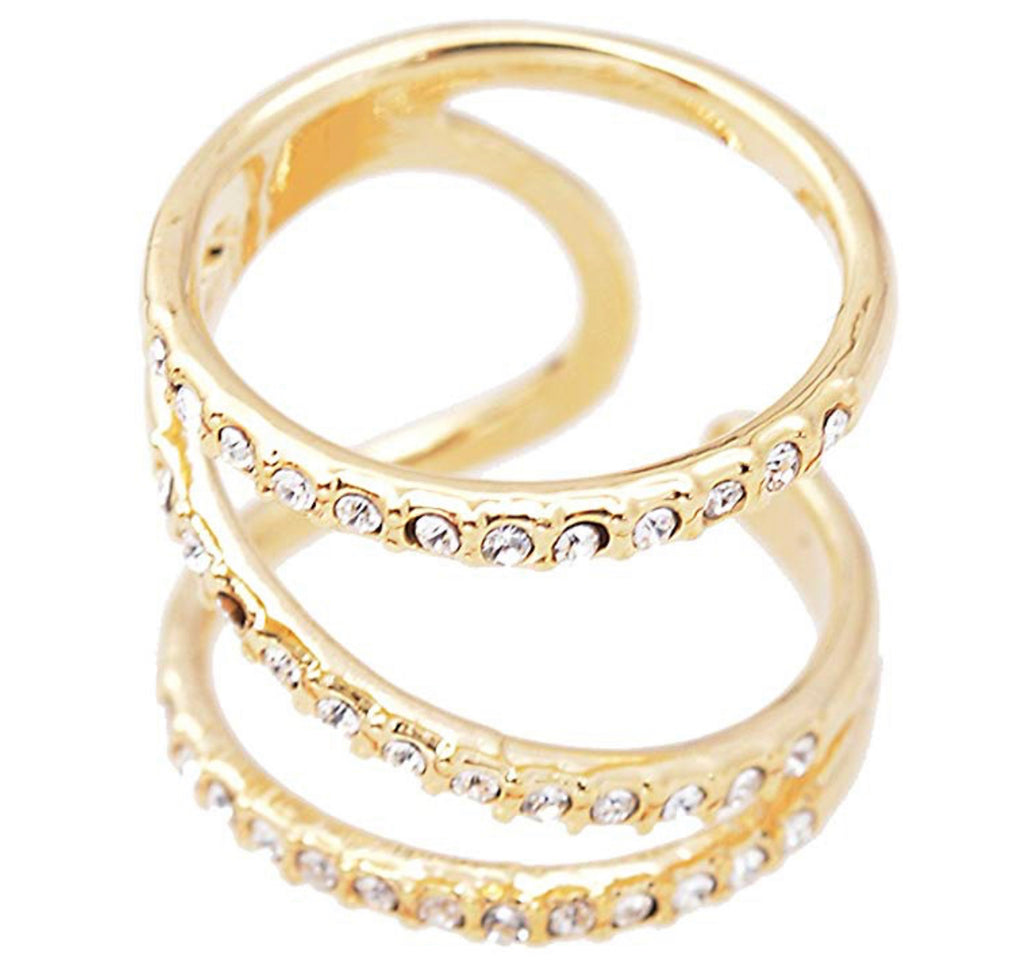Crystal Spiral Wrap Around Statement Ring