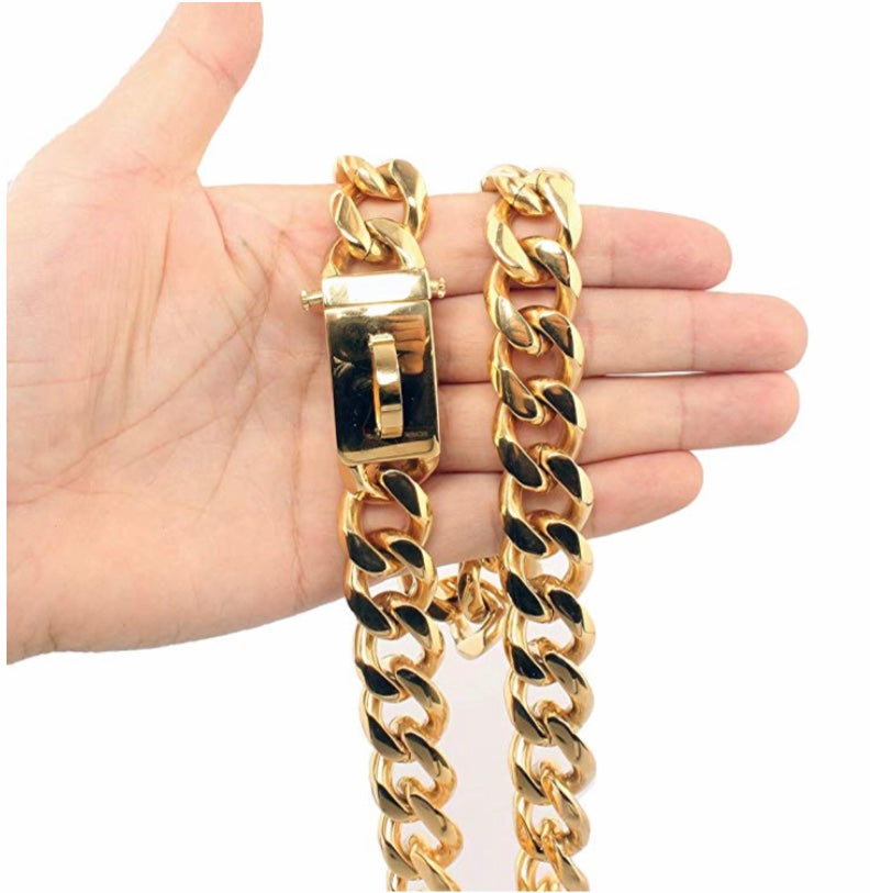18K Gold Dog Collar Heavy Duty Cuban Chain