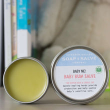 Load image into Gallery viewer, Baby Me Organic Baby Care Bundle is a great gift set for a new baby. Baby Bum Salve included. Available at www.cherubsblanket.com