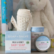Load image into Gallery viewer, Baby Me Organic Baby Care Bundle is a great gift set for a new baby. Four piece set. Available at www.cherubsblanket.com
