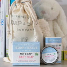 Load image into Gallery viewer, Baby Me Organic Baby Care Bundle is a great gift set for a new baby. Comes in a reusable cotton bag. Available at www.cherubsblanket.com