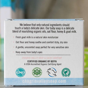 Baby Me Organic Baby Care Bundle is a great gift set for a new baby. Milk and Honey Baby Soap is included - back of box shown. Available at www.cherubsblanket.com