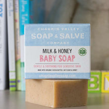 Load image into Gallery viewer, Baby Me Organic Baby Care Bundle is a great gift set for a new baby. Milk and Honey Baby Soap is included. Available at www.cherubsblanket.com