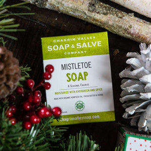 Chagrin Valley Soap and Salve Mistletoe Soap is a seasonal favorite. Available at www.cherubsblanket.com