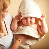 Cherub's Blanket organic cotton hooded towel with mom and cute baby