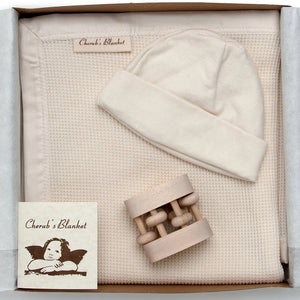 Cherub's Blanket Organic Baby Shower Gift Set with Baby Blanket, Hat, and Rattle