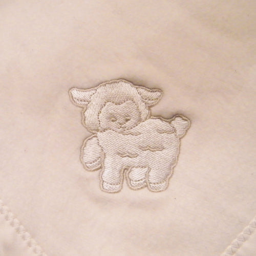 Cherub's Blanket Organic Cotton Deluxe Sherpa Blanket with Lamb Embroidery is a luxuriously soft, warm blanket that makes  the ultimate baby shower gift. Available at www.cherubsblanket.com