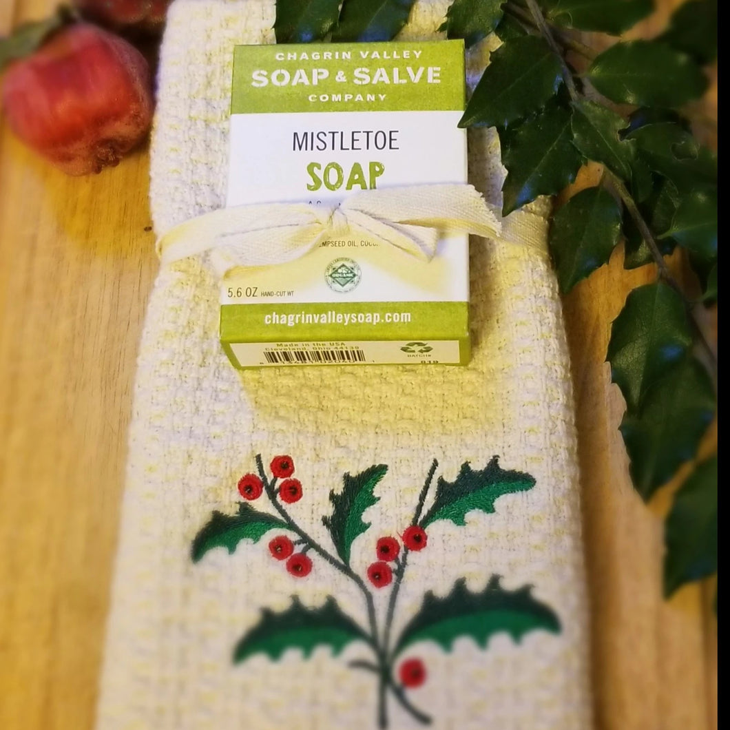 Organic Cotton Hand Towel and Soap Gift Sets for Kitchen or Bath