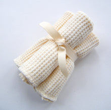 Load image into Gallery viewer, Cherub's Blanket Organic Cotton Little Baby Wash Cloths - Three Pack. Great for bathing a baby, feeding, as organic baby wipes, or to stash in a baby bag for on the road little messes.  Also available in bulk.  Visit www.cherubsblanket.com for information and to purchase.