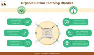 Cherub's Blanket Organic Teether Lovie Infographic reviewing the product features and benefits