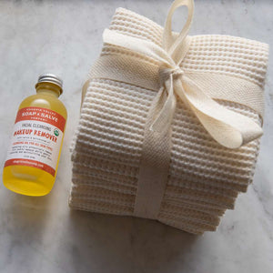 Cherub's Blanket Organic Facial Cleansing Set with organic cotton facial cloths and Chagrin Valley Soap makeup remover. Available at www.cherubsblanket.com