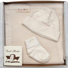 Load image into Gallery viewer, Cherub's Blanket Organic Cherub's Blanket Organic Cotton Take Me Home Baby Gift Set with Blanket, Baby Hat, and Socks. Perfect gift for a newborn.  Visit us at www.cherubsblanket.com