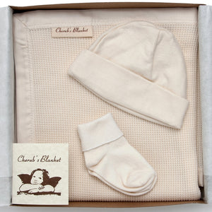 Cherub's Blanket Organic Cherub's Blanket Organic Cotton Take Me Home Baby Gift Set with Blanket, Baby Hat, and Socks. Perfect gift for a newborn.  Visit us at www.cherubsblanket.com
