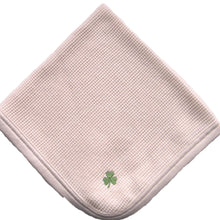 Load image into Gallery viewer, Cherub's Blanket Organic Cotton Tag Along Mini Blanket with shamrock luck o'the irish embroidery feature. Visit us at www.cherubsblanket.com