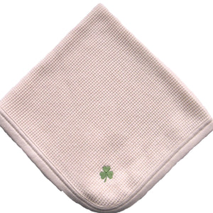 Cherub's Blanket Organic Cotton Tag Along Mini Blanket with shamrock luck o'the irish embroidery feature. Visit us at www.cherubsblanket.com
