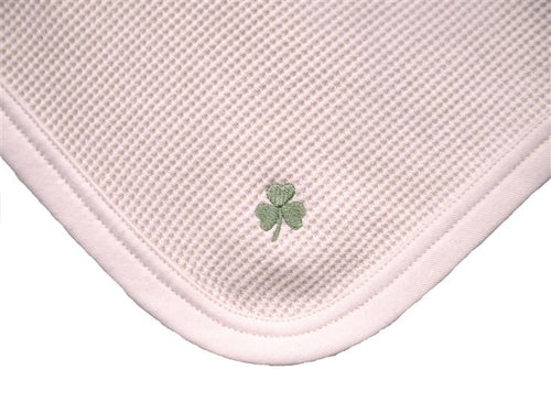 Cherub's Blanket Luck O' The Irish Tag Along Mini Blanket with Shamrock. Organic cotton. Visit us at www.cherubsblanket.com
