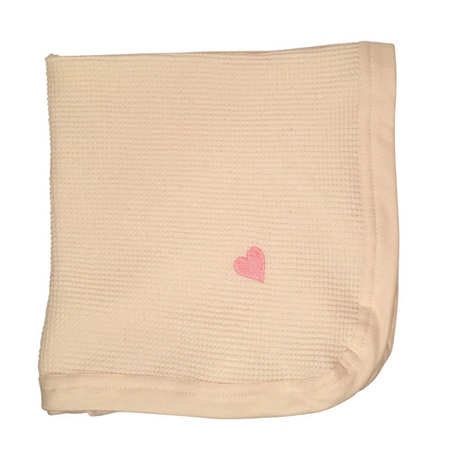 Cherub's Blanket Tag Along Mini Blanket with Pink Heart embroidered in corner. 20