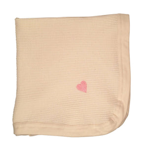 "Cherub's Blanket Tag Along Mini Blanket with Pink Heart embroidered in corner. 20""x 20"". Naturally colored organic cotton. Made in the USA Cherub's Blanket Organic Cotton Tag Along Mini Blanket with shamrock luck o'the irish embroidery feature. Visit us at www.cherubsblanket.com"