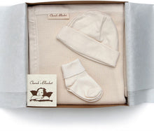 Load image into Gallery viewer, Cherub's Blanket Organic Cherub's Blanket Organic Cotton Take Me Home Baby Gift Set with Blanket, Baby Hat, and Socks. A must-have for a newborn. Visit us at www.cherubsblanket.com