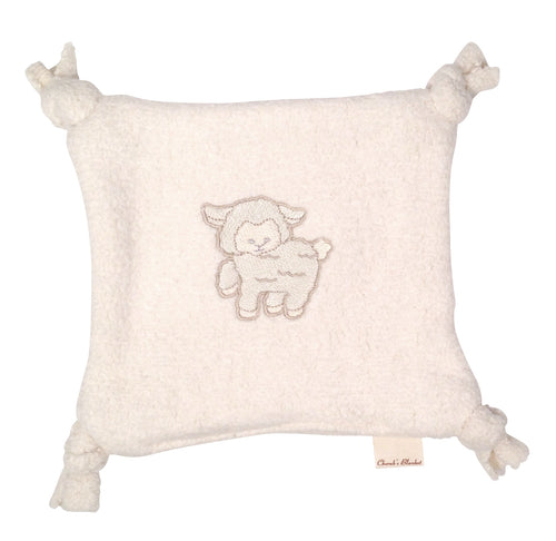 Cherub's Blanket Organic Cotton Teether Lovie with An Embroidered Lamb Design. Visit us at www.cherubsblanket.com