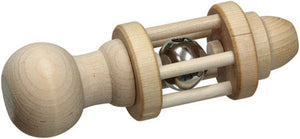 Cherub's Blanket natural wooden rattle - large bell side view. Visit us at www.cherubsblanket.com