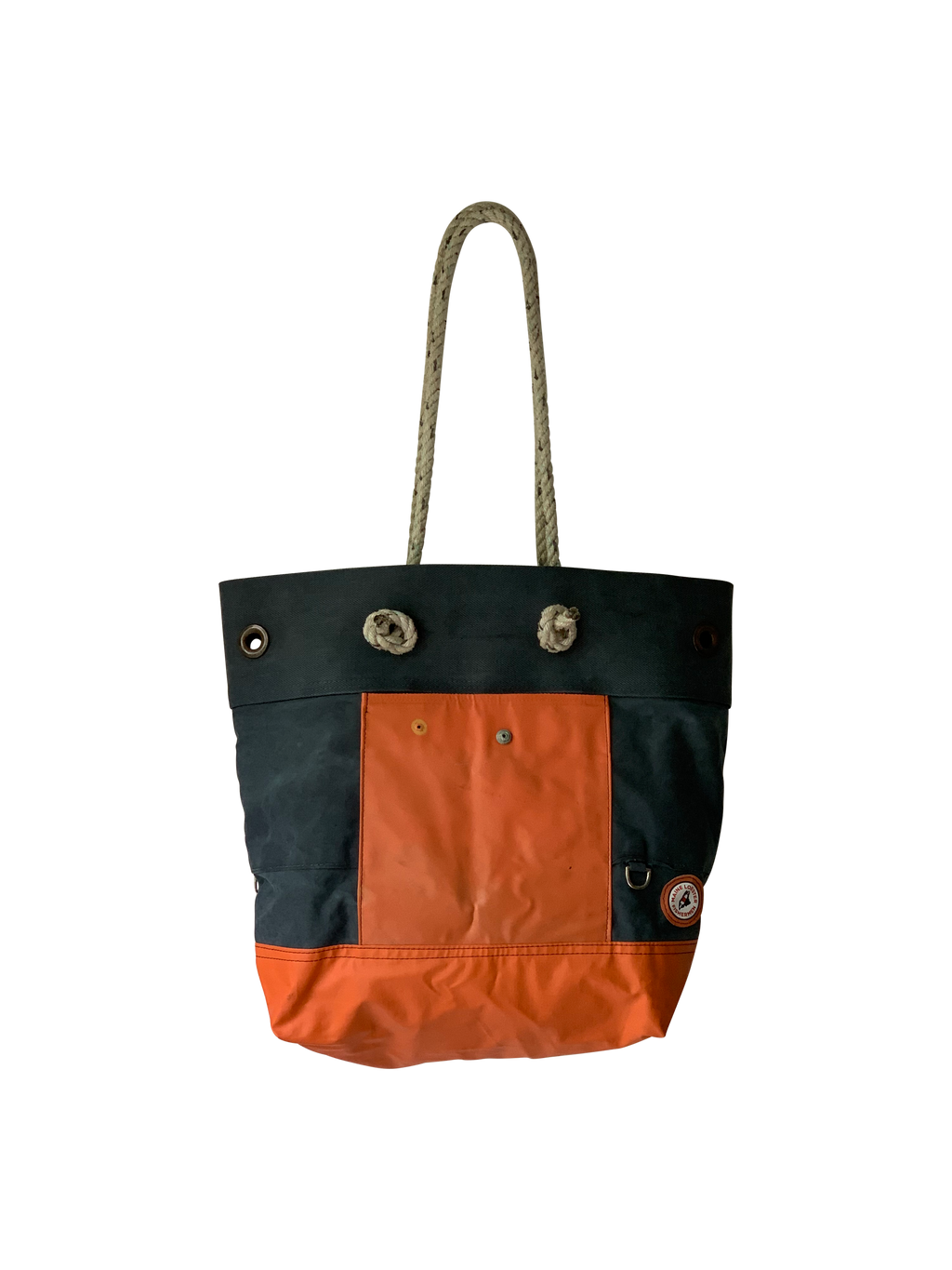 Rugged Seas & STERNLINES Canvas Bib Tote (Navy/ Orange 1)