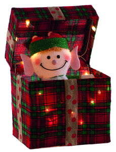 30cm animated elf gift box