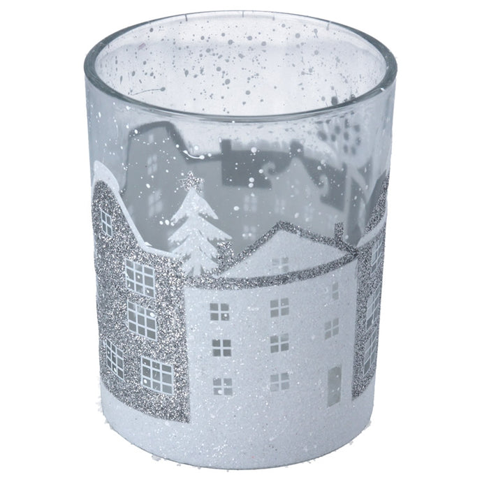 Clear Glass Snowy Houses T Light Holder