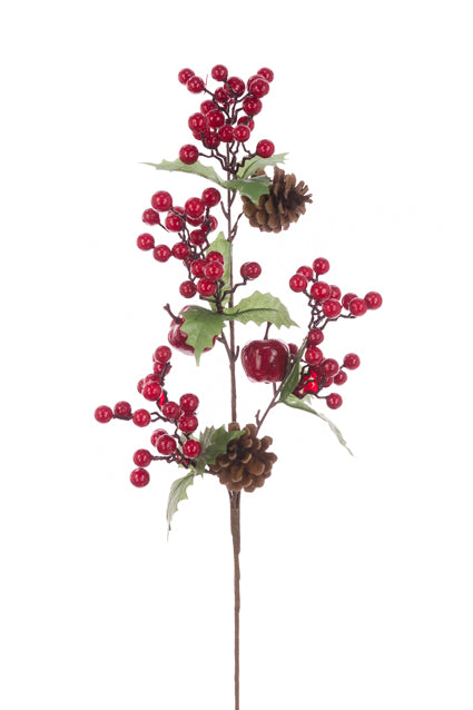 Berry Pinecone Spray 71cm
