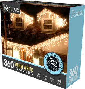 360 snowing icicle timer lights - warm white