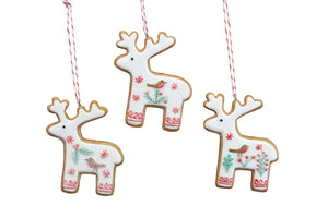 Nordic Iced Gingerbread Resin Reindeer Dec,