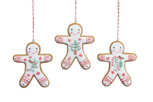 Nordic Iced Gingerbread Resin Man Dec, 3as