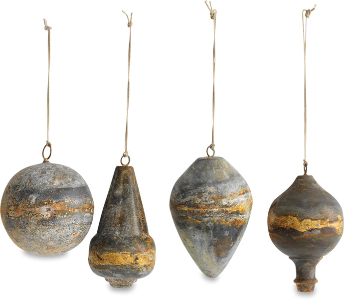 Abari Baubles - Aged Zinc  - Set of 4 - Large approx 11 x 6.5 x 7.5cm