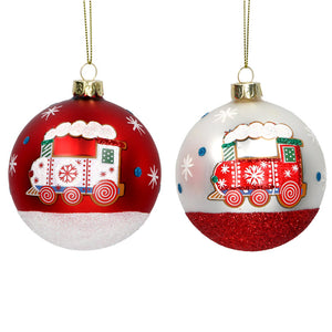 Painted Train Bauble
