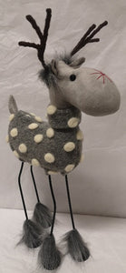 SMALL SPOTTY GREY REINDEER WITH METAL LEGS