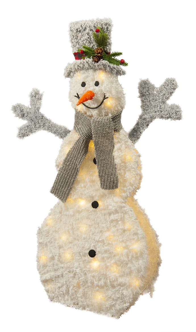 Lit White Tinsel Snowman Battery Operated
