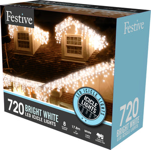720 snowing icicle timer lights - white
