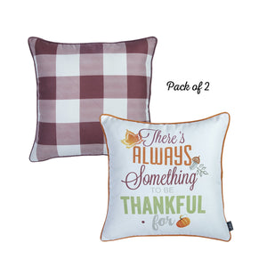 "Fall Season Thanksgiving Thankful Gingham Square 18"" Throw Pillow Cover (Set of 2)"