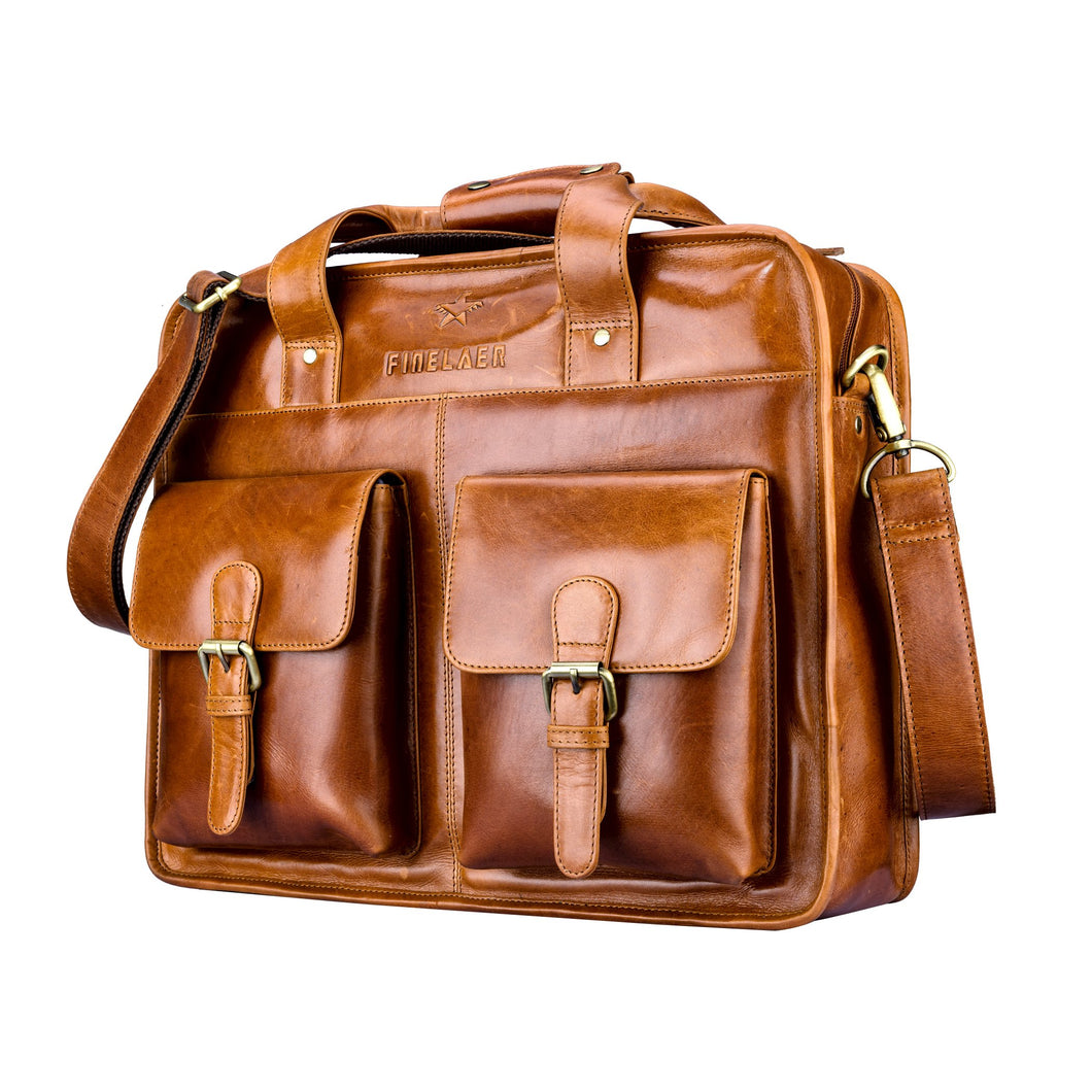 Finelaer Men Brown Leather Laptop Front Pocket