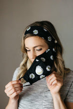 Load image into Gallery viewer, Floral Black Face Mask Headband Combo