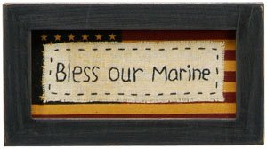 "Stitchery - ""Bless Our Marine""- Military Wall Decor- 7-1/4"" x 4"""