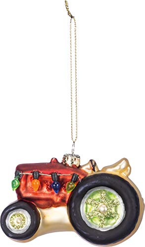 Primitives By Kathy 3.25 Inches x 2 Inches Glitter Metal Glass - Tractor Decorative Hanging Ornaments