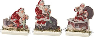 "Stand Up Set of 3 - Santas SIZE: 3.50"" x 3.50"", 3"" x 4.25"", 3.50"" x 4.50"""