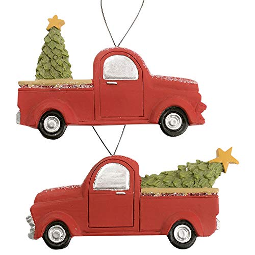 Blossom Bucket Christmas Truck with Tree 3 x 5 Inch Resin Stone Christmas Ornament Set of 2