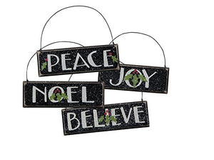 Ornaments - Holiday Peace, Noel, Joy, Believe Christmas Set of 4