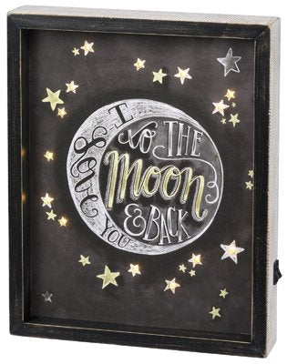 Primitives By Kathy Reverse LED Box Sign - Love You To The Moon And Back