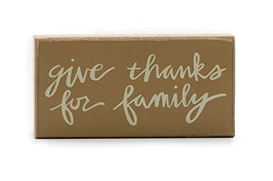 Give Thanks for Family Wood Block Sign