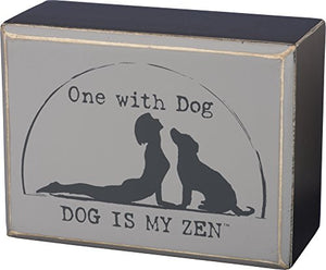 "Primitives by Kathy Box Sign - One with Dog Size: 4"" x 3"""