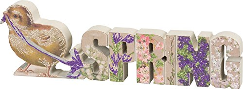 Primitives by Kathy Chick Spring 12 Inches x 3.75 Inches Glitter Paper Wood Chunky Sitter Decorative Signs